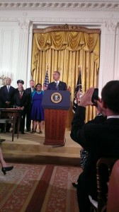 President Obama speaks before signing LGBT contractor executive order. Attribution: Scottie Thomaston